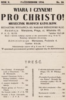 Pro Christo! : wiarą i czynem! : miesięcznik młodych katolików. 1934, nr10
